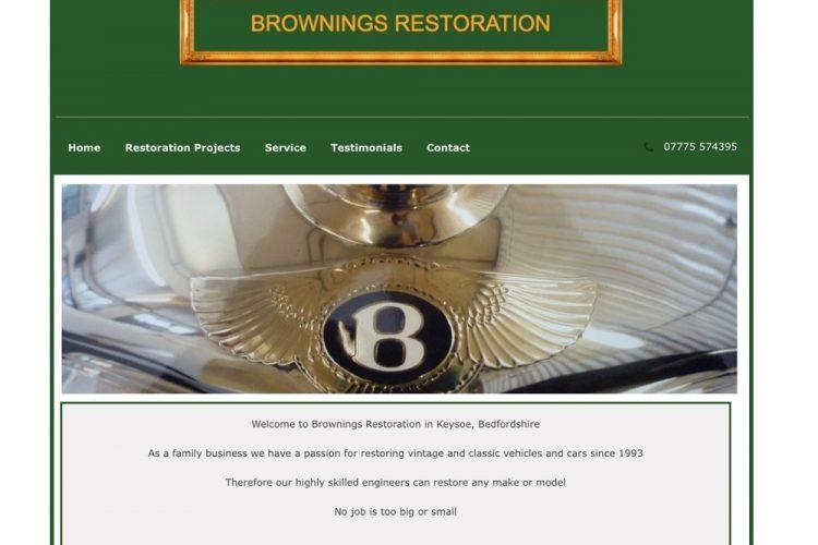 Website Design for Brownings Restoration in Bedfordshire